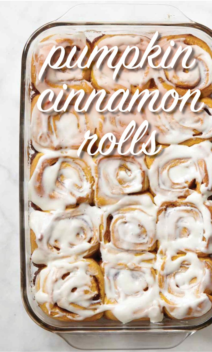 Pumpkin Cinnamon Rolls | Martha Stewart Living - Pumpkin-enriched yeast dough swirls around a cinnamon-sugar filling; cream cheese frosting cloaks the top of each roll.