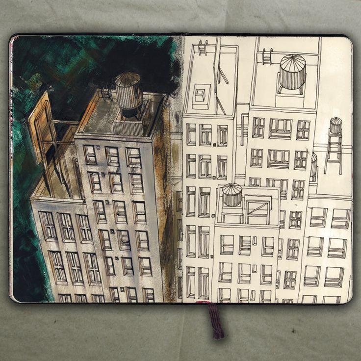 Moleskine - myMoleskine - NEW YORK ROOFS_Drawing, 2015_Mariasun Salgado