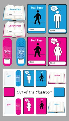 Classroom Passes - Boy and Girl Hall Pass, Bathroom Pass, Office Pass, Library Pass, Nurse Pass, Star Student, Line Leader, Classroom Charts for where your students are. Note to the Nurse.