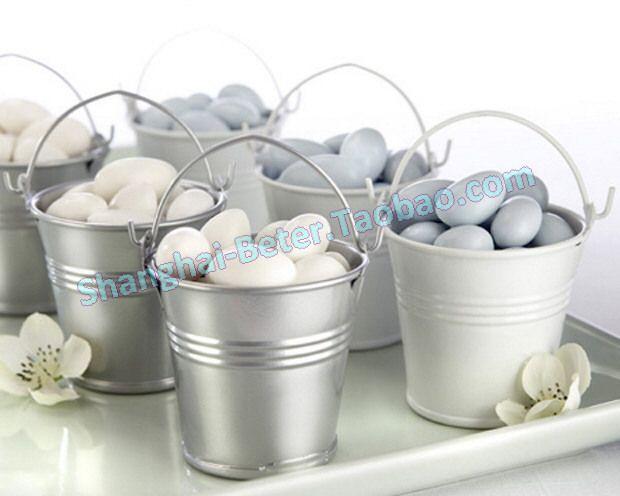 (120pcs Silver ; While 120pcs) Wedding Souvenir box, party Favor Tin Pails BETER-WJ034