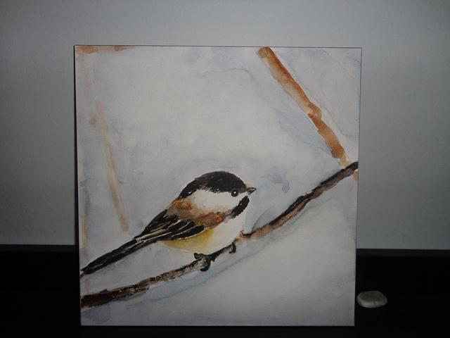 watercolour chickadee