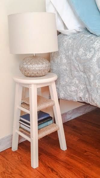 repurposing old barstools into bedside tables two broke wives scandaless. beautiful ideas. Home Design Ideas