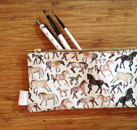 Horse Pencil case Equine Gift Pencil Case by ElenaIllustration