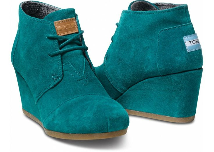TOMS Lake Green Suede Desert Wedge a perfect pair for chocolate browns, blacks and greys ... feeling crazy? pair it with a pastel instead!