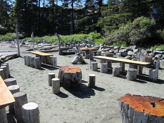 """The seating area for our """"Crab Cookout"""" on Chesterman Beach.  Mondays, Wednesdays and Fridays during the summer months."""