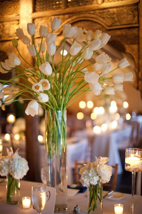 Tall arrangements of long stemmed tulips look incredible with the stunning décor at this event.