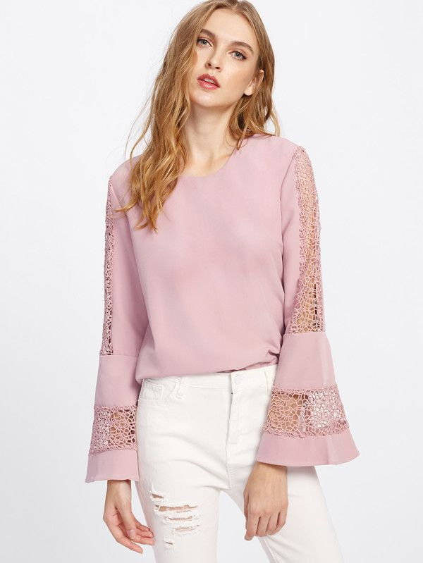 Bell Sleeve Lace Cut Out Blouse -SheIn(Sheinside)