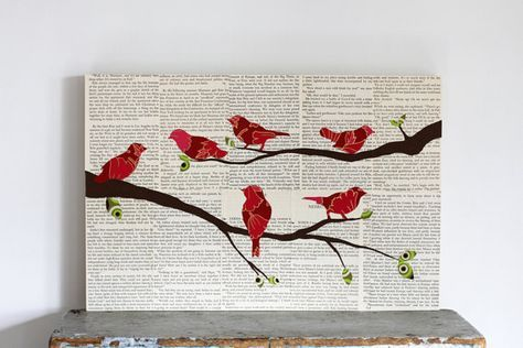 Oiseau sur la branche Decor, Bird Wall Art, Art animalier boisé pépinière Paper Art oiseaux monté sur panneau bouleau, 12 « x 18 »