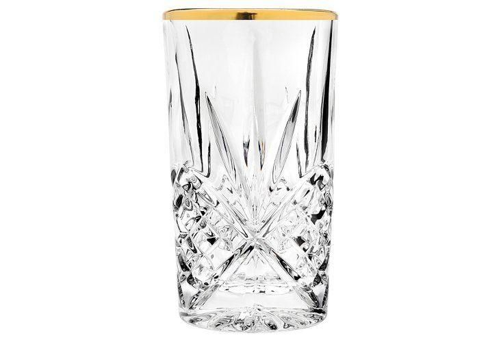 S/4 Dublin Highball Glasses, Gold Banded -- Rimmed with gold, these sparkling cut-crystal highball glasses will make sipping special, no matter the occasion.