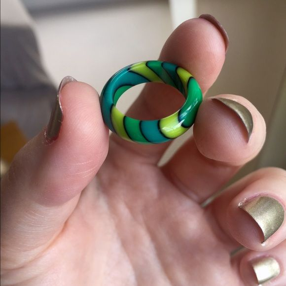 Striped Ring Awesome ring with green, yellow, and aquamarine stripes! Good as new, just way too small on me. Approximately size 5.5. Jewelry Rings