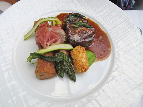 Veal Filet and Sweetbread 'Saltimbocca' Green Asparagus, Almond Potatoes Proscuitto and Sage