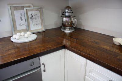 DIY butcher block countertops with Ikea wood counter tops. so dreamy!