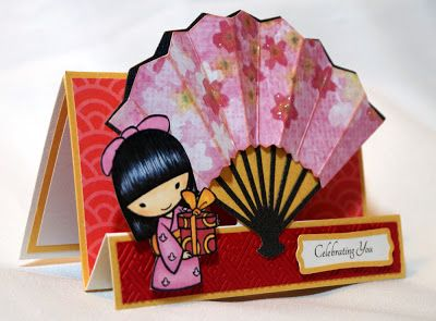 A Star For Chiemi - lovely asian card using Pagoda cartridge for fan.