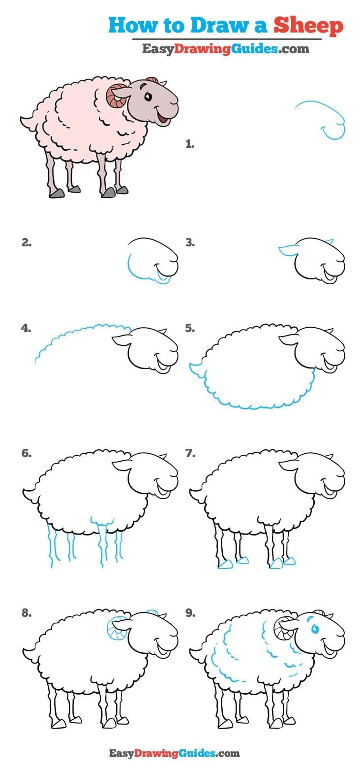 Learn How to Draw a Sheep: Easy Step-by-Step Drawing Tutorial for Kids and Beginners. #Sheep #DrawingTutorial #EasyDrawing See the full tutorial at https://easydrawingguides.com/how-to-draw-a-sheep-really-easy-drawing-tutorial/.