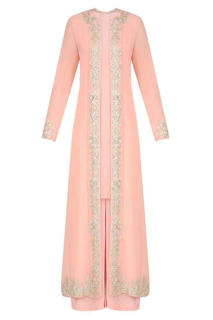 Peach embroidered jacket with pink kurta and pants available only at Pernia's Pop Up Shop.