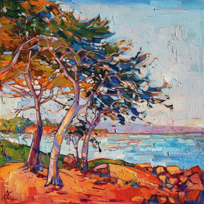Vibrant oil painting of Monterey, by alla prima painter Erin Hanson