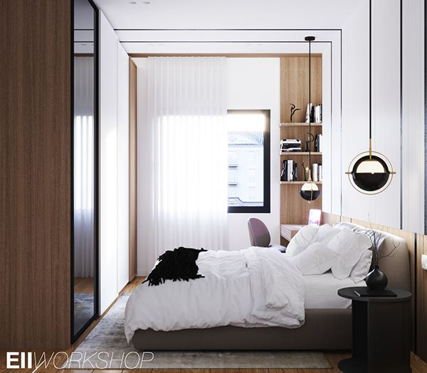 Bedroom In Contemporary Style On Behance: Modern Bedroom On Behance In 2020