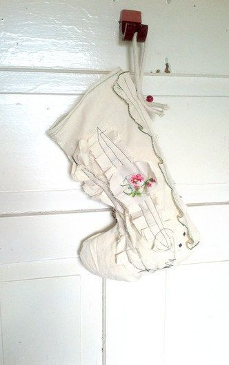 Shabby Chic Embellished Christmas Stocking OOAK  by recyclingroom, $30.00