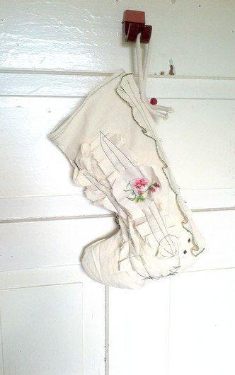 Shabby Chic Embellished Christmas Stocking OOAK - OFG, Upcycled, Christmas sock