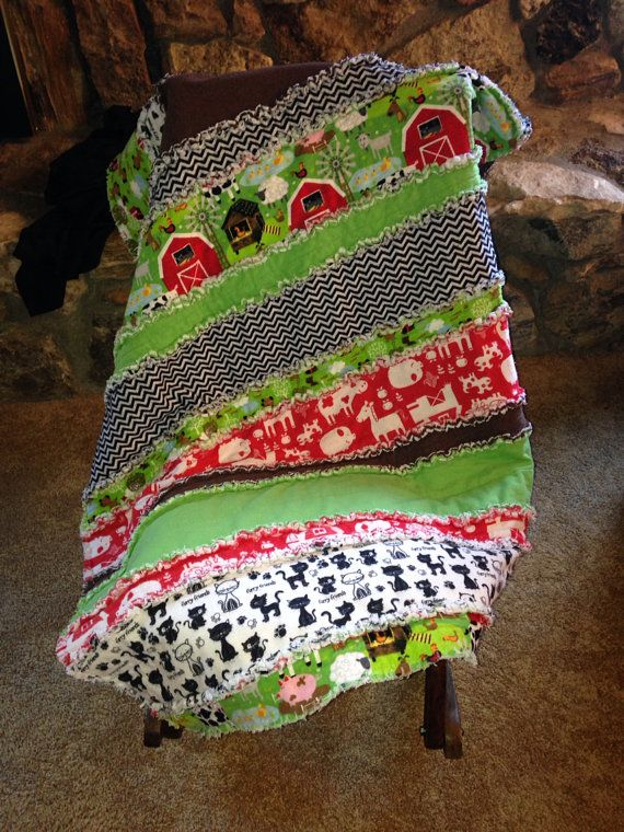 """Old McDonald Farm Is the Theme for This Crib Size Rag Strip Quilt 39"""" by 49"""" Cute Animals Can Be Recognized by Your Child on Etsy, $65.00"""