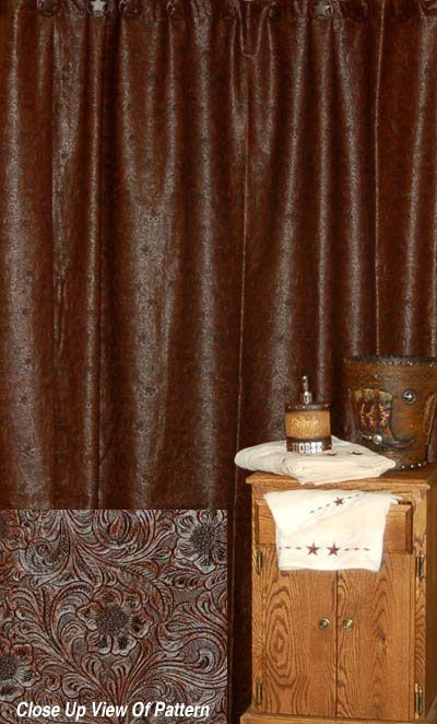 western tooled leather style bathroom cabinets | » Western Decor » Western Shower Curtains » Faux Tooled Leather ...