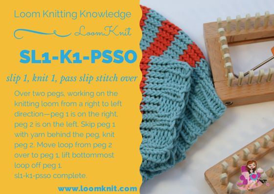 Knitting Stitches Sl1 : Loom Knitting Knowledge: Sl1-k1-psso Loom Knitting Patterns Pinterest L...