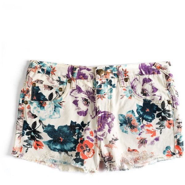 Free People Floral Denim Cotton Shorts ($37) ❤ liked on Polyvore featuring shorts, bottoms, pants, floral, cutoff jean shorts, jean shorts, free people shorts, fitted shorts and floral printed shorts