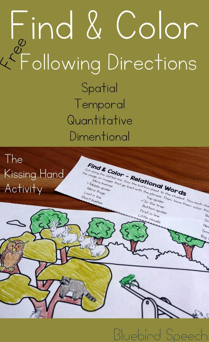 Coloring activities speech therapy - Freebie Following Directions Relational Words Receptive Language Back To School The