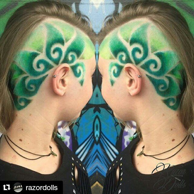 Green shaved hair swirl design