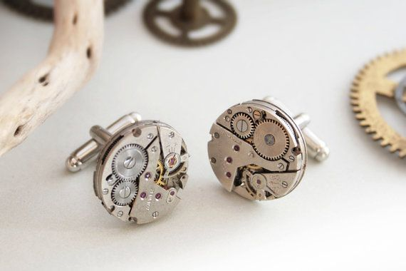 Geek cuff links Clockwork Cufflinks Men by KfiatekGiftedHands, £30.00