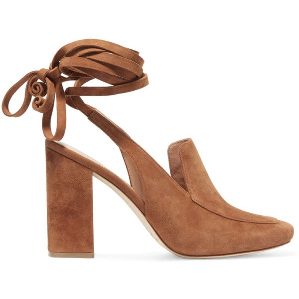 Belle by Sigerson Morrison Damen Posie Lace-up Suede Pumps Braun - bei... (€153) ❤ liked on Polyvore featuring shoes, pumps, suede shoes, lace up pumps, laced shoes, suede leather shoes and laced up shoes