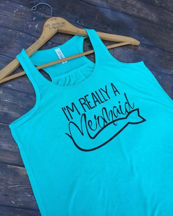 Mermaid Shirt Beach Tank Top Boating Gifts Nautical Shirt