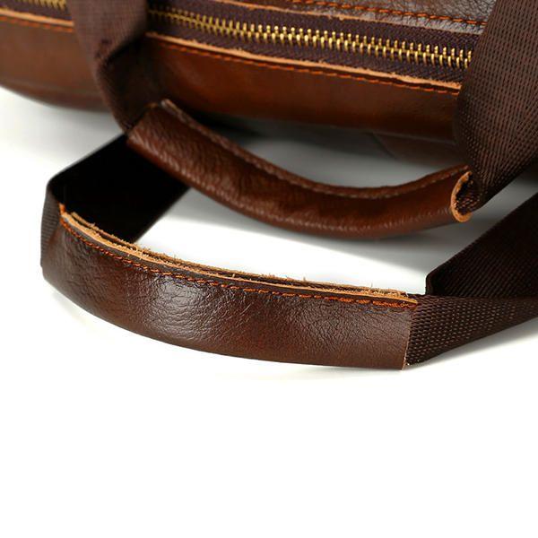 Wax Oil Cow Leather Vintage Handbag Business Briefcase Crossbody Shoulder Bag - US$54.89