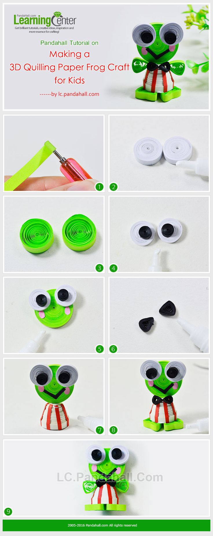 Pandahall Tutorial on Making a 3D Quilling Paper Frog Craft for Kids