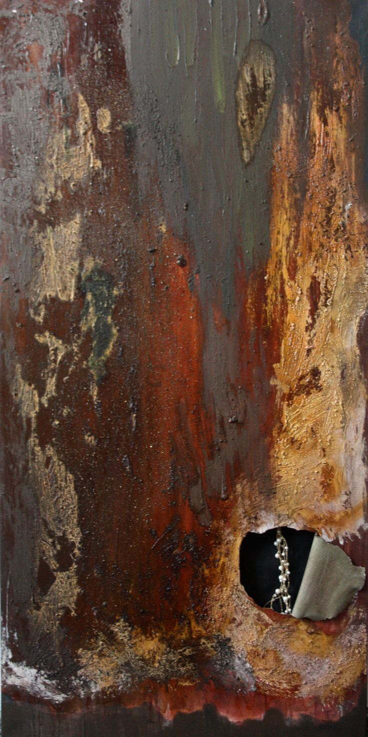 """secret"" - 120x60cm, 2012, acryl, resin, jewellery on canvas. http://korpyta.com"