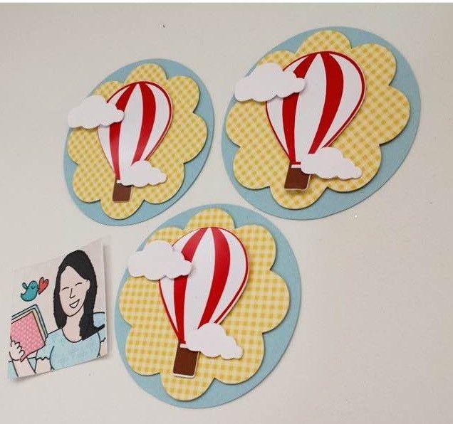 Tag de 6cm com aplicações em 3D no tema balão.  Personalizado em outros temas e cores.