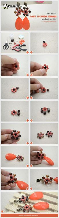 Jewelry Making Tutorial-How to make Floral Statement Earrings with Beads and Wire | PandaHall Beads Jewelry Blog