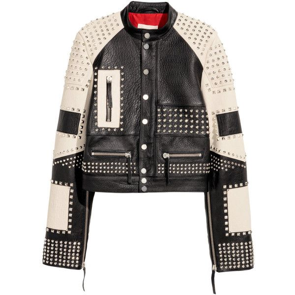 Leather Jacket with Studs $399 ($399) ❤ liked on Polyvore featuring outerwear, jackets, short leather jacket, studded leather jacket, genuine leather jackets, white and black jacket and short jacket