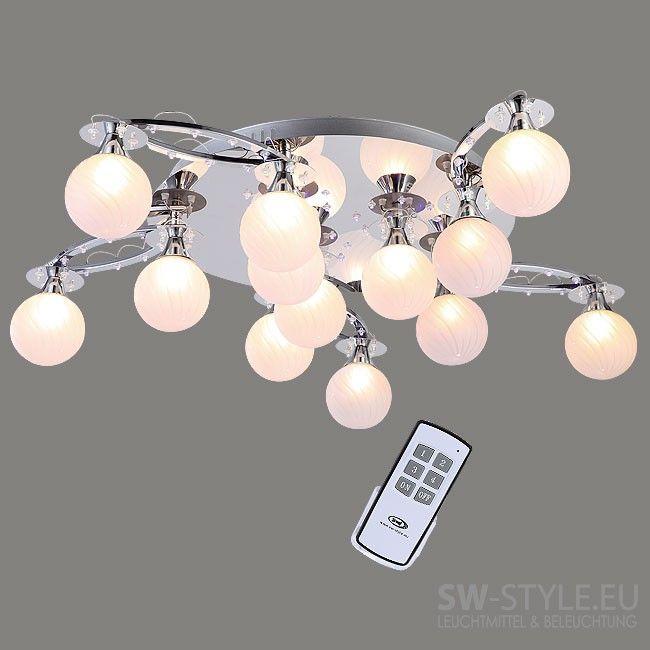 Design Deckenleuchte LEDs Mit Farbwechsel Und Fernbedienung In Chrom Hauseigene Entwicklung Der Befestigung Von Glasschirmen Ermglicht Verschiedene