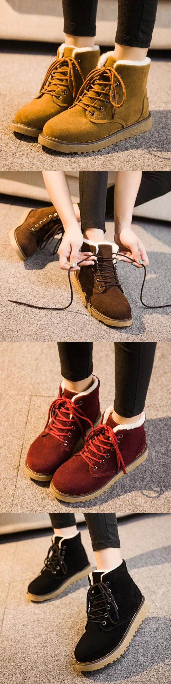 US$7.15  Winter Warm Lace Up Ankle For Women Flat Boots