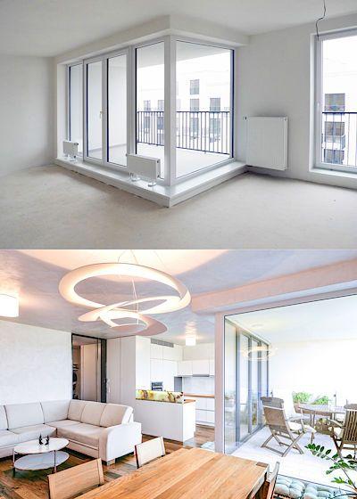 Srovnání původní a nové podoby obývacího pokoje