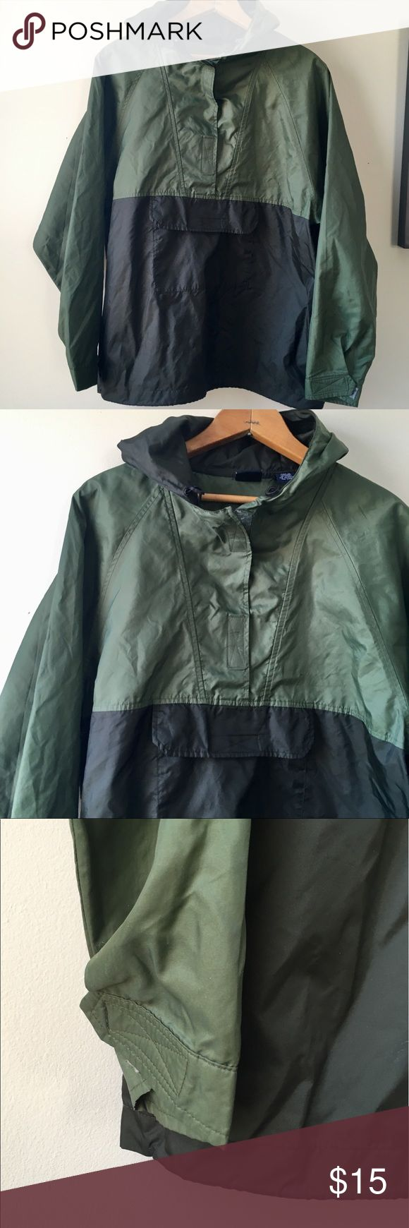 "GAP light rain jacket green GAP * nylon rain jacket * poncho * raincoat * green * front pocket * hood * boys size XXL * fits a women's small or medium  * I am typically a size small and I bought this for myself and it fits oversized on me * approx measures 20"" across chest and 25"" long * EUC GAP Jackets & Coats"