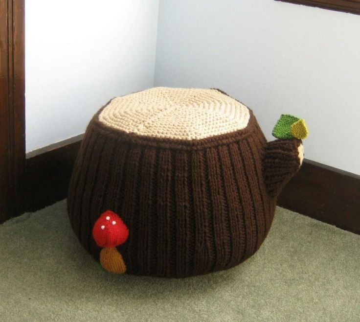 Tree Stumps as Interior Decoration knitted tree stump footstool,pouffe or giant stool for little fairies bedroom complete with toadstool