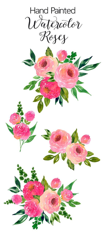 Watercolour Flower Clip Art - Hand Painted Watercolor Roses, Pink Flower Bouquet…