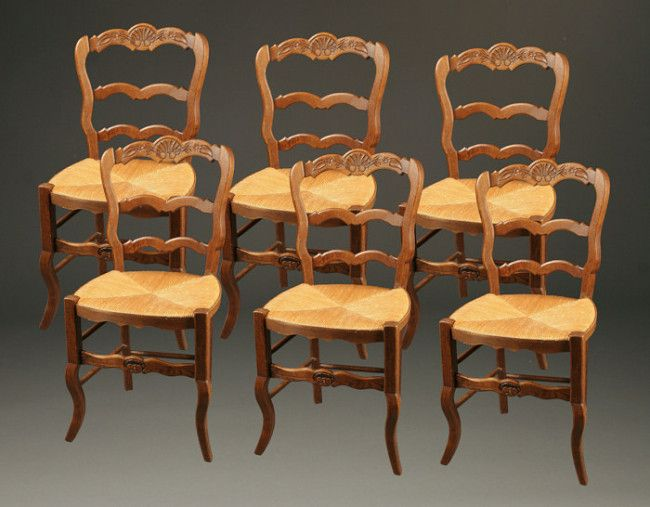 Set Of 6 Country Antique French Neo Rustique Side Chairs, Circa 1890.  #antique