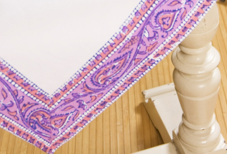 Purple Placemats - Luxury Table Linens - Hand Block Printed from Attiser