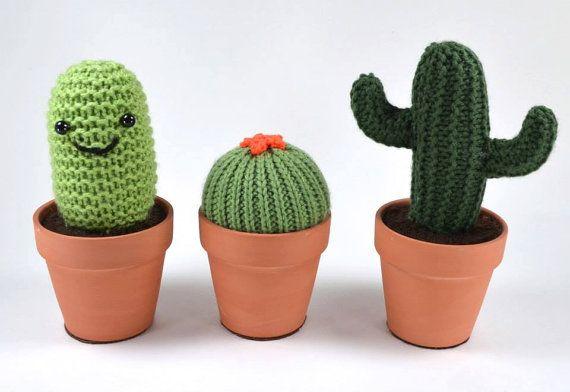 Single Knit Mini Cactus in a Terracotta Pot - Pincushion and Fake Plant