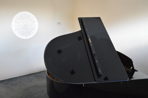 Bosendorfer grand piano with William Morris projection by artist Kate Lynch  Marburae Art Gallery, Cheshire  www.artinmacclesfield.co.uk