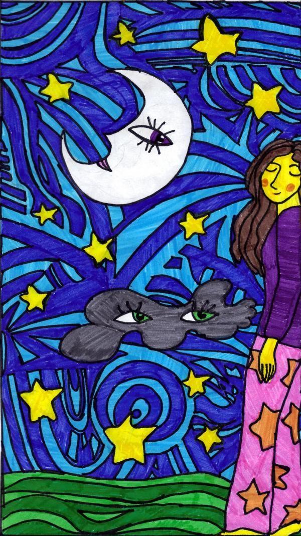 La niña del pijama, la luna, su madre, la nube y su abuela.