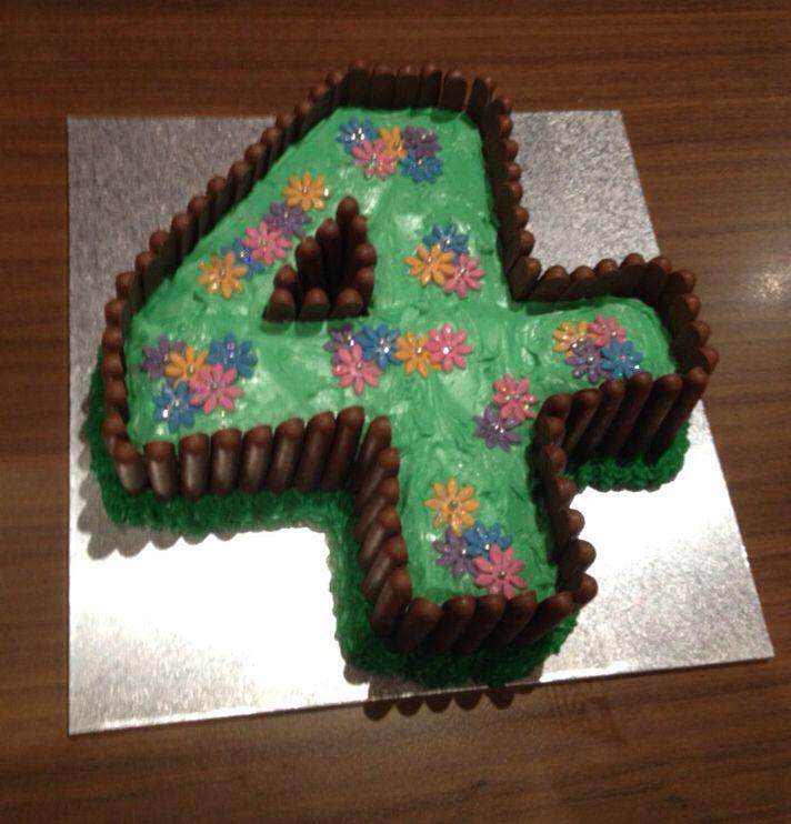 Number 4 garden cake